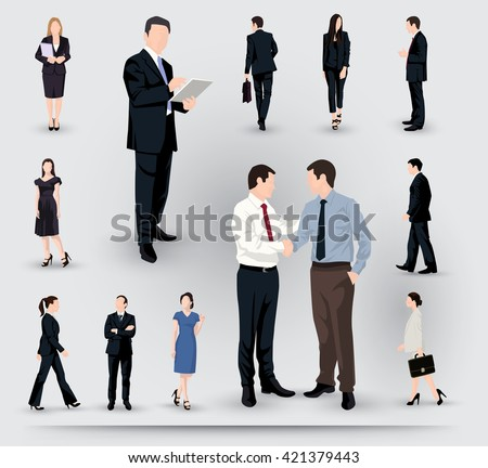 Collection of business people illustrations in different poses and interactions - stock vector