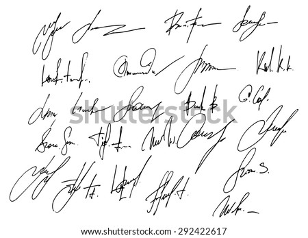 Collection of 25 business signatures - stock vector