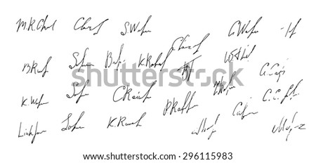 Collection of 25 business signatures. Vector illustration - stock vector