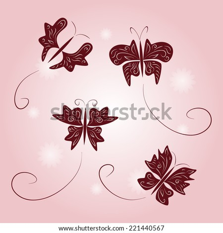 Collection of butterflies. Background with butterflies ornament. Vector set. - stock vector