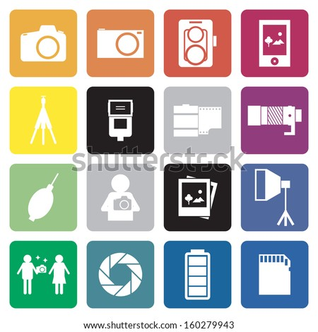 collection of 16 camera&photographer sign icon. vector. - stock vector