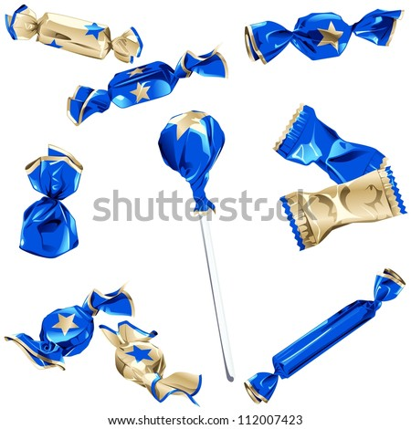 Collection of candy in shiny blue and gold wrappers (EPS10); - stock vector