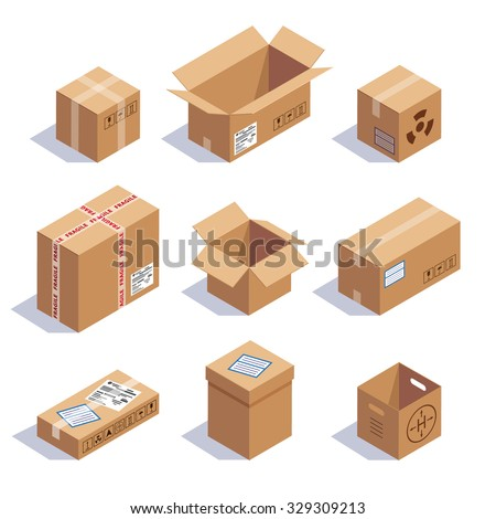 Collection of cardboard boxes. Opened, closed, sealed, cubic, big and small. Red striped and bow tied confetti explosion. Flat style vector illustration isolated on white background. - stock vector