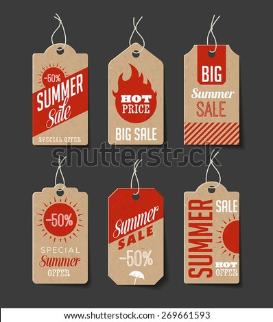 Collection of cardboard sales labels, Can be used as price tags. - stock vector