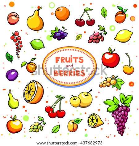 Collection of cartoon juicy fruits and berry. Vector illustration. Set of colorful fruit and berries icons. Isolated on white. Fruit web icon hand drawn in doodle style. On watercolor drops background - stock vector