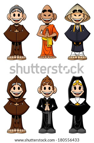 Collection of cartoon religious: Catholic monks, Buddhist monks, nun and priest. Isolated on white background. - stock vector