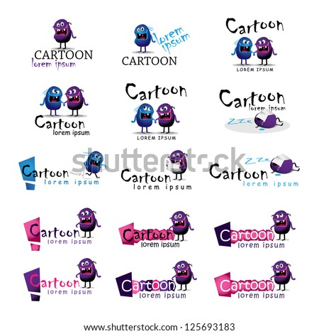 Collection Of Cartoon Silhouettes Isolated On White Background - Vector Illustration, Graphic Design Editable For Your Design. Cartoon Logo - stock vector