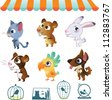 Collection of cartoon vector pets on white background - stock vector