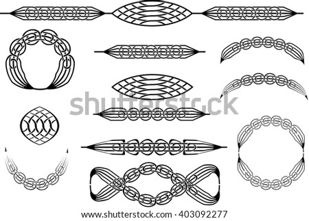 Collection of celtic knot abstract ornaments or brushes. - stock vector
