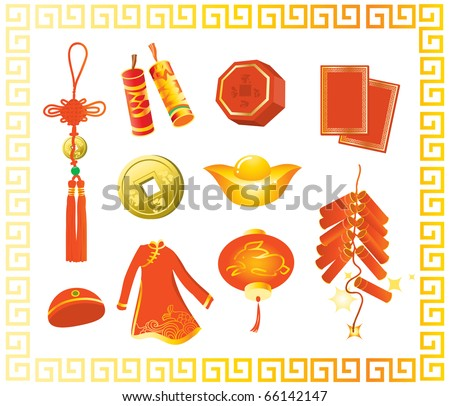 Collection of Chinese New Year gifts, Year of the Rabbit, isolated on white - stock vector
