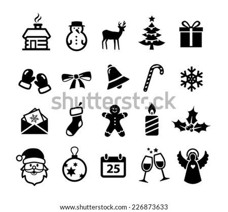 Collection of Christmas and winter icons - stock vector