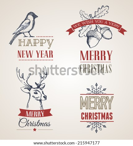 collection of Christmas calligraphic and typographic design with labels, symbols and elements. Hand drawing illustrations, scrapbooking concept - stock vector