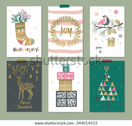 Collection of 6 Christmas card templates. Christmas Posters set. Vector illustration - stock vector