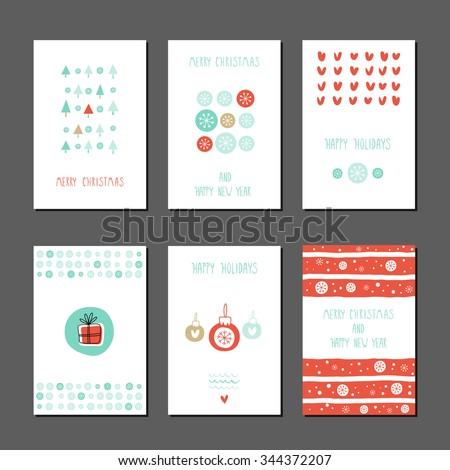 Collection of 6 Christmas card templates. Christmas Posters set. Vector illustration. Trees. Hearts. Snowflakes. Gifts. Creative Hand Drawn cards for winter holidays. - stock vector