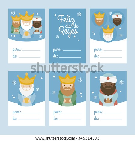 Collection of 6 Christmas card templates. Vector illustration. Template for Greeting Scrap booking, Congratulations, Invitations. Blue. Happy Epiphany written in Spanish - stock vector