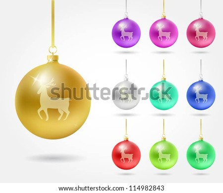 Collection of Christmas decoration balls with reindeer - stock vector