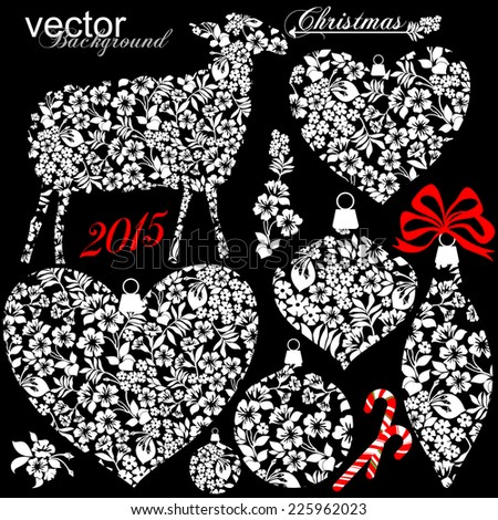 Collection of Christmas design elements isolated on black background. Vector illustration  - stock vector