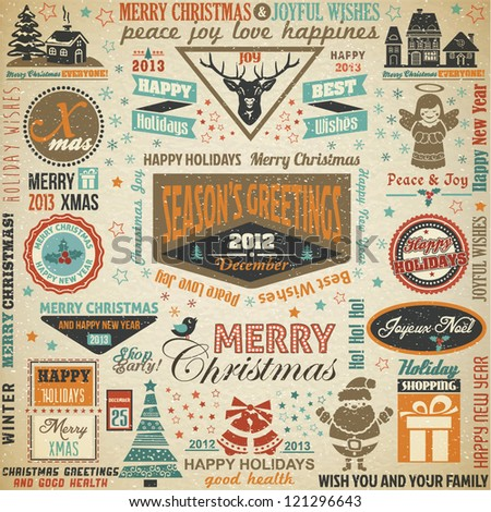 Collection of Christmas Design Elements.Vector Illustration - stock vector