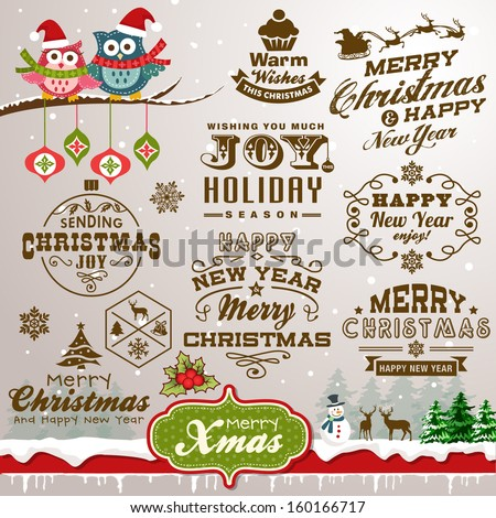 Collection of Christmas design elements with vintage labels, icons and typography design - stock vector
