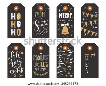 Collection of Christmas gift tags with hand lettering isolated on white background - stock vector