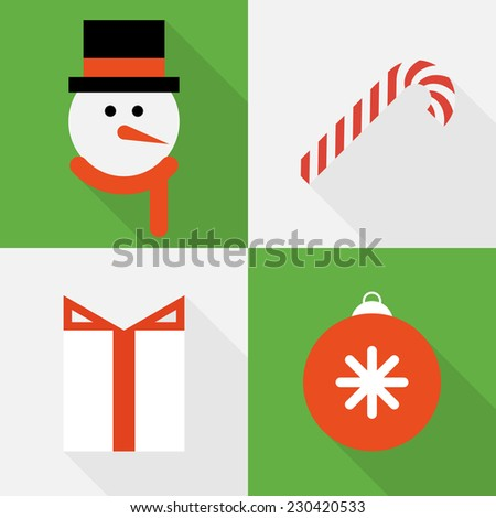Collection of Christmas icons in flat style - stock vector