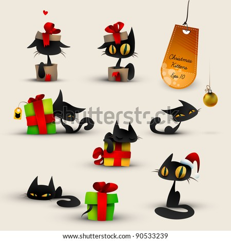 Collection of Christmas Kittens, Cats | EPS10 Vector Set | Layers Organized and Named - stock vector
