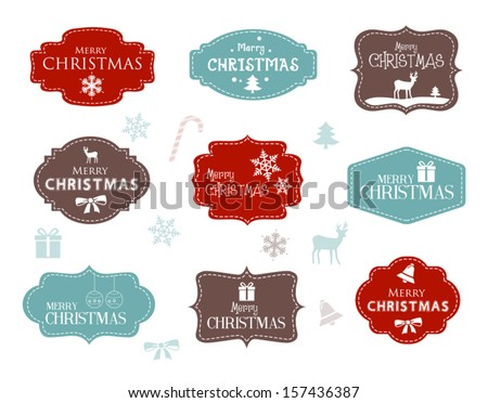 Collection of Christmas Labels - stock vector