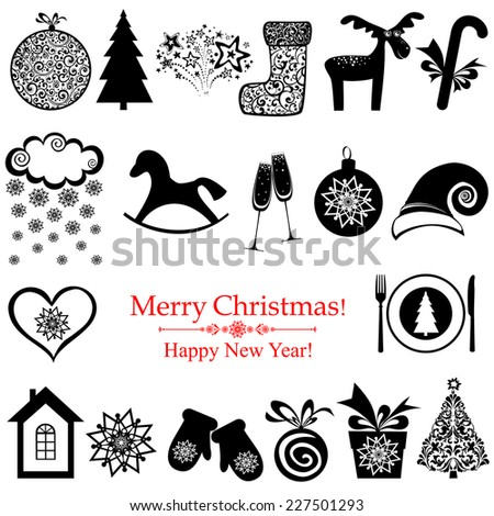 Collection of christmas retro elements isolated on white. Vector Illustration  - stock vector