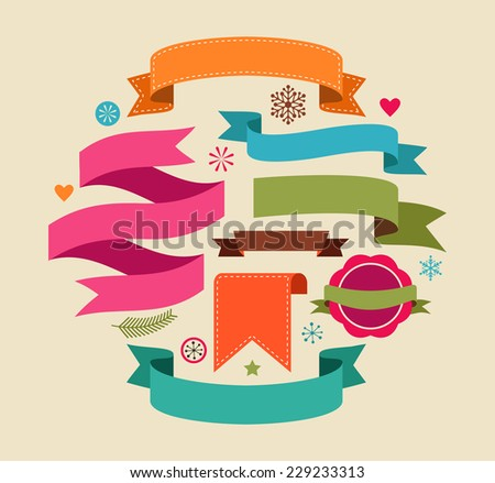 Collection of Christmas Vintage Retro banners and ribbons - stock vector