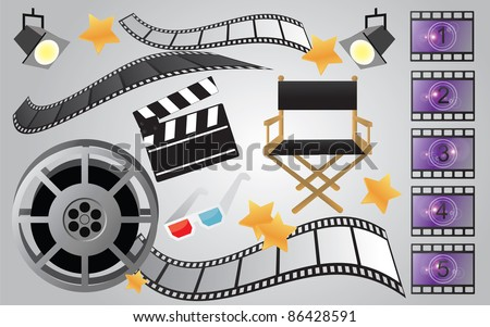Collection of cinema or movie items, vector - stock vector