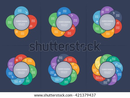 Collection of circle diagrams with 4 to 9 petals - stock vector