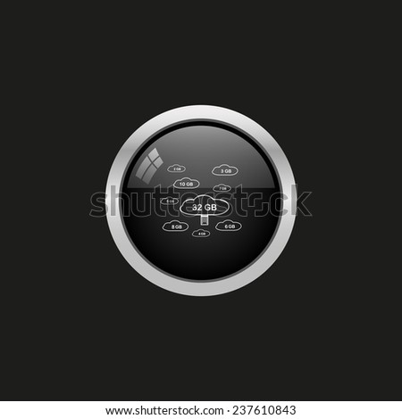 collection of cloud storage, black button, vector, 10 EPS - stock vector