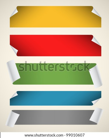 Collection of color blank paper ribbons with bending corners - stock vector