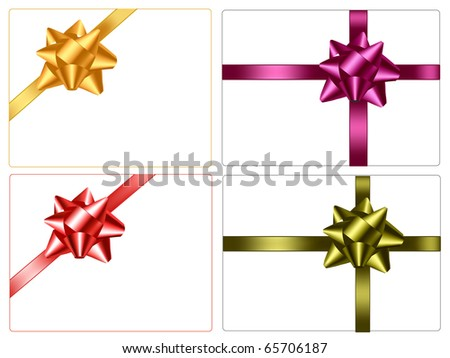 Collection of color gift bows with ribbons. Vector. - stock vector