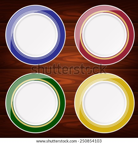 Collection of 4 colored plates. Vector image can be used for food menu or posters design, web or other crafts. - stock vector