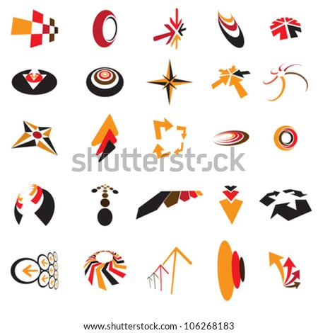 Collection of colorful arrow and circle icons created using arrows, direction symbols and signs, circles, curves, etc. These generic icons can be used in websites, blogs, print, etc. - stock vector