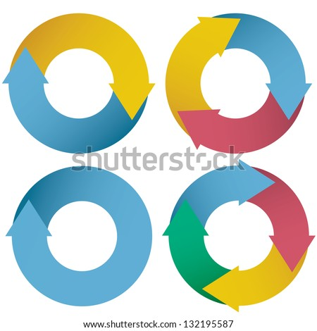 collection of colorful arrow circle flows. vector. - stock vector