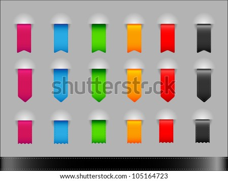 Collection of colorful different shapes ribbons - stock vector