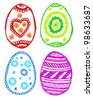 collection of colorful doodle sketchy easter eggs - stock vector