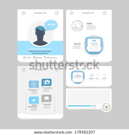 Collection of colorful flat kit UI navigation elements with icons for personal portfolio website and mobile templates - stock vector