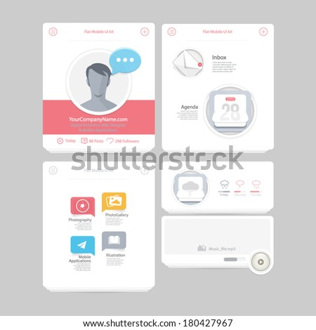 Collection of colorful flat kit UI navigation kit elements with icons for personal portfolio website and mobile templates - stock vector