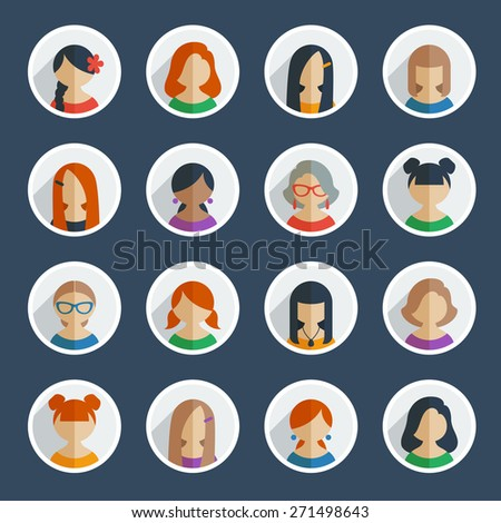Collection of 16 colorful flat user female icons different characters, sex, age and race for avatars in social networks, and communication interface. - stock vector