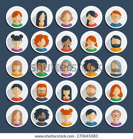 Collection of 25 colorful flat user icons different characters, sex, age and race for avatars in social networks, and communication interface - stock vector