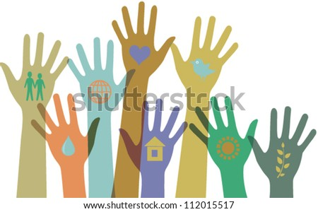 Collection of  colorful hands with icons. Vector - stock vector