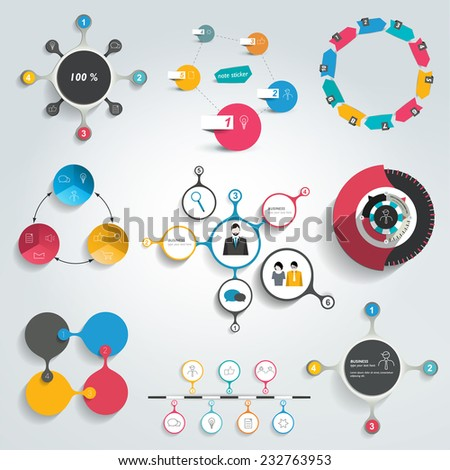 Collection of colorful round info graphics diagrams. Circle schemes.  - stock vector