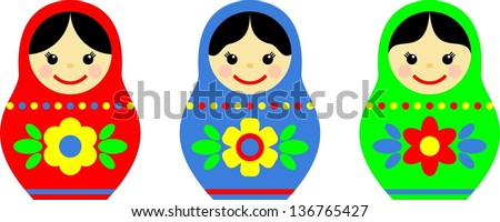 collection of colorful russian matryoshka with different patterns and colors - stock vector