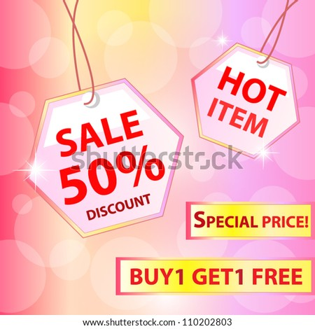 Collection of colorful sale labels, stickers, corners, tags. Discount and hot item. Vector illustration - stock vector