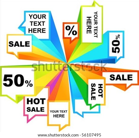Collection of colorful sale tags and callouts - stock vector
