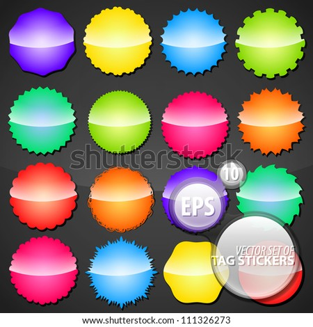 Collection of colorful shimmer glossy eps10 round vector stickers in 16 different shape variations - stock vector