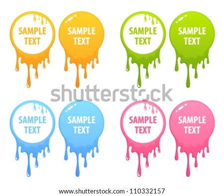 collection of colorful splatter text frames of circle shape - stock vector
